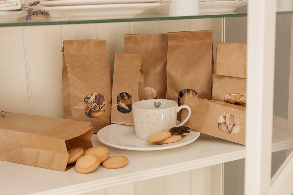 Verpackte Kekse in Bäckerei